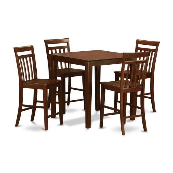Mahogany counter height table and 4 dinette chairs 5 piece for 4 piece dining table set