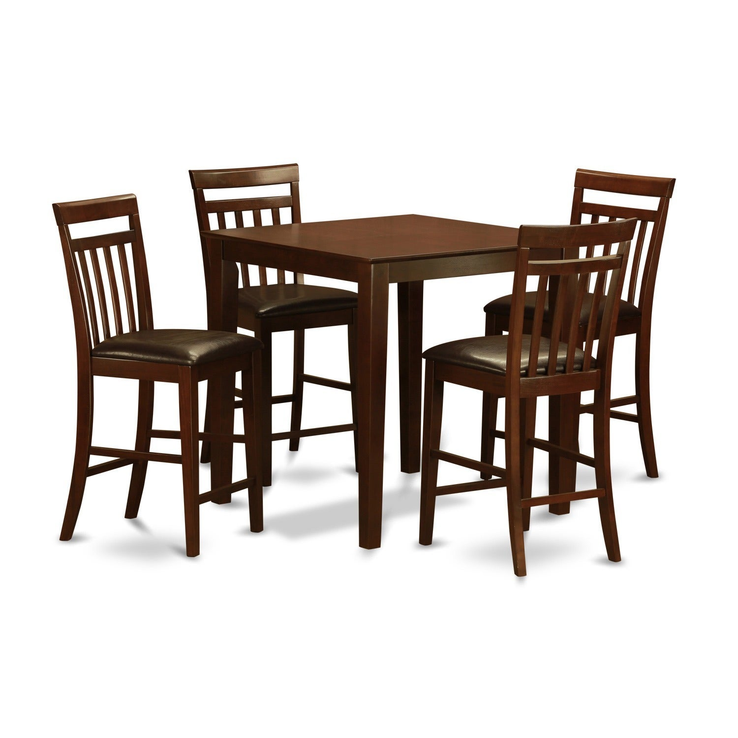 Guess Mahogany Counter Height Table and 4 Dinette Chairs ...