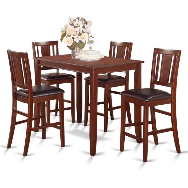 Shop Mahogany Counter Height Table And 4 Stools Dining Set