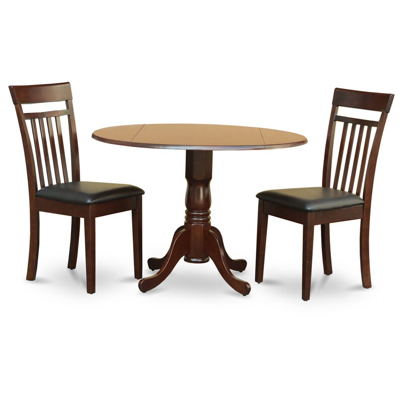 Mahogany Drop Leaf Table and 2 Chairs 3-piece Dining Set ...