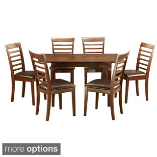Mahogany Kitchen TableA Leaf and 6 Kitchen Chairs 7-piece Dining Set