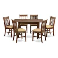 Mahogany Leaf and 6 Dining Room Chairs 7-piece Dining Set