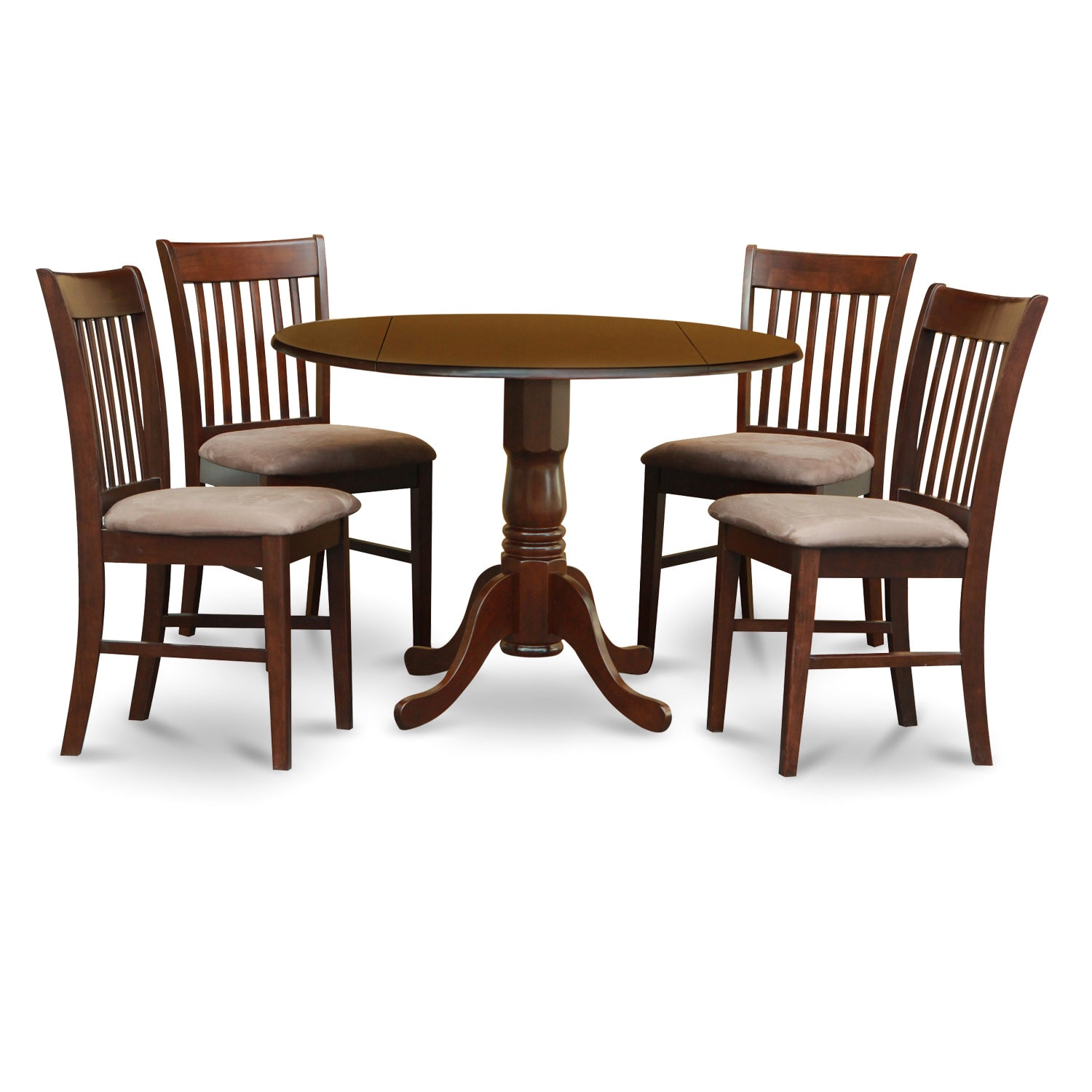 Round Breakfast Table Set: Mahogany Round Table And Dinette Chairs 5-piece Dining Set