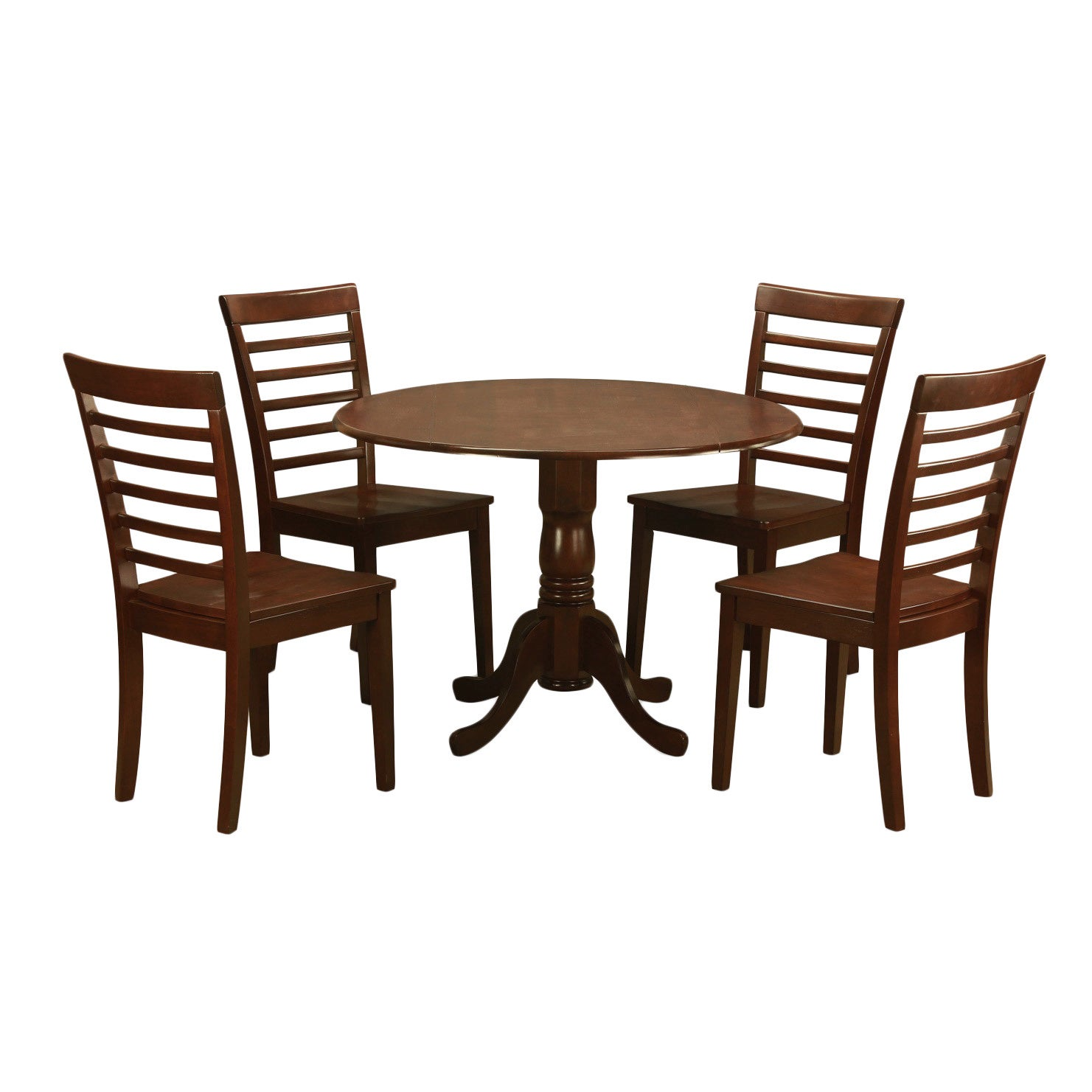Mahogany Small Kitchen Table and 4 Chairs 5-piece Dining ...