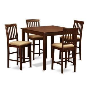 Mahogany Square Counter Height Table and 4 Counter Height Chairs 5-piece Dining Set