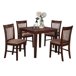 Mahogany Square Table and 4 Chairs 5-piece Dining Set