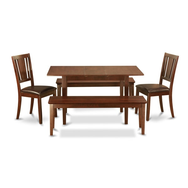 Mahogany Table Leaf Plus 2 Kichen Chairs and 2 Dining Benches 5-piece Dining Set