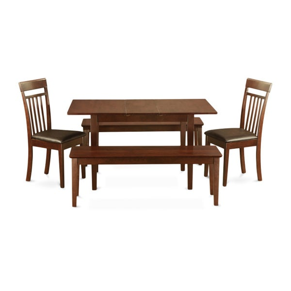 table leaf plus 2 kitchen chairs and 2 dining benches 5 piece dining