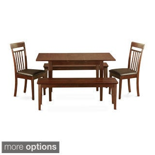 Mahogany Table Leaf Plus 2 Kitchen Chairs and 2 Dining Benches 5-piece Dining Set