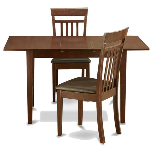 Mahogany table leaf and 2 kitchen chairs 3 piece dining for Kitchen set 2 x 3