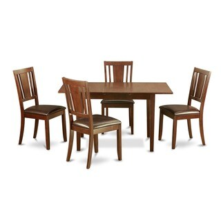 Mahogany Table Leaf and 4 Kitchen Chairs 5-piece Dining Set