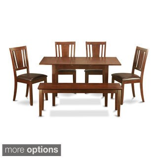 Mahogany Table Leaf and 4 Seat Chairs and Dining Bench 6-piece Dining Set