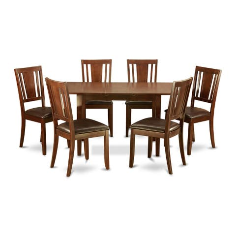 Mahogany 7-piece Dining Table Set with Extender Leaf