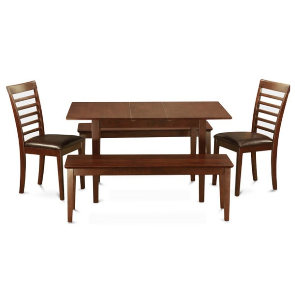 Mahogany Table Plus 2 Dining Table Chairs And 2 Dining Benches 5 Piece Dining