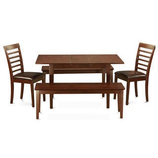 Mahogany Table Plus 2 Dining Table Chairs and 2 Benches 5-piece Dining Set