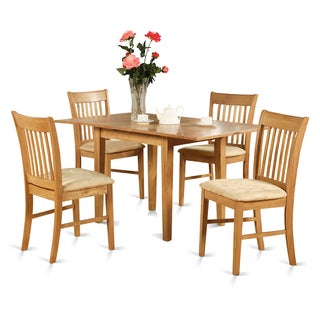 Oak  Table and 4 Dining Table Chairs 5-piece Dining Set