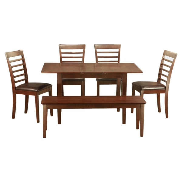 Mahogany table and 4 dining room chairs plus bench 6 piece for Table a manger plus 6 chaise