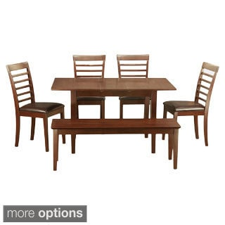 Mahogany Table and 4 Dining Room Chairs Plus Dining Bench 6-piece Dining Set