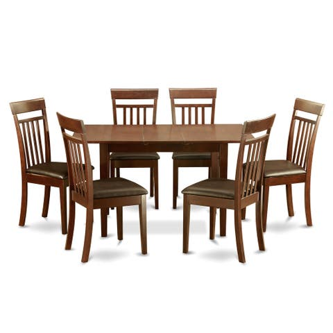 Mahogany Table and 6 Dining Table Chairs 7-piece Dining Set