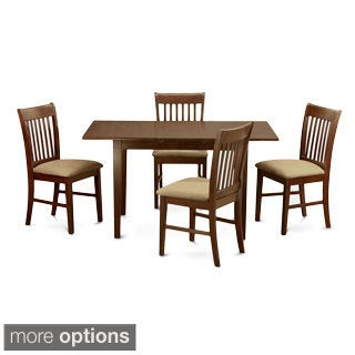 Mahogany Table with 12-inch Leaf and 4 Chairs 5-piece Dining Set