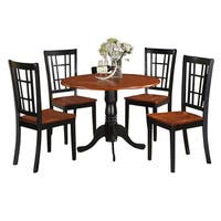 Black and Cherry Kitchen Table and Kitchen Four Chair 5-piece Dining Set