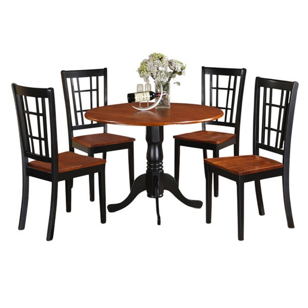 Black and cherry kitchen table and kitchen four chair 5 for Four chair dining table set