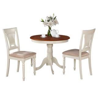 Buttermilk and Cherry Round Table and Two Chair 3-piece Dining Set