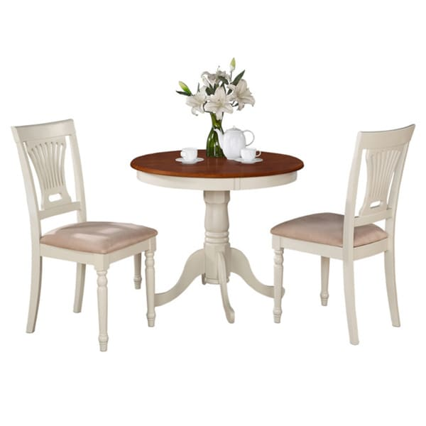 Two Seat Dining Set: Buttermilk And Cherry Round Table And Two Chair 3-piece