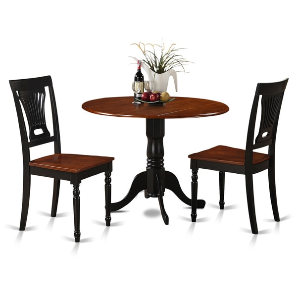 Black And White Retro Dining Table And Chairs Set: Black And Cherry Round Table And Two Dinette Chair 3-piece