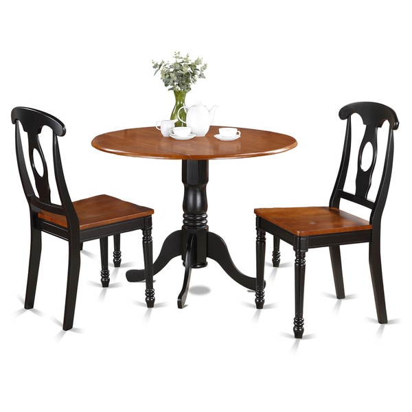 two tone black and cherry wood finish 3 piece dining set free shipping today. Black Bedroom Furniture Sets. Home Design Ideas