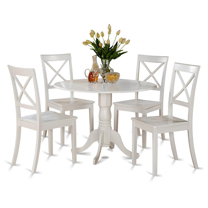 Linen White Small Table and 4 Dinette Chairs 5-piece Dini...