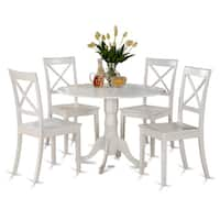 Maison Rouge Wilfrid Linen White Small Table and 4 Dinette Chairs 5-piece Dining Set