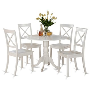 Linen White Small Table And 4 Dinette Chairs 5 Piece Dining Set