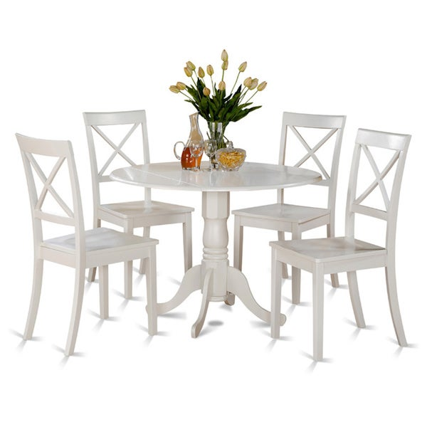 Linen white small table and 4 dinette chairs 5 piece for Small table and 4 chair set