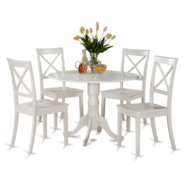 Linen white small table and 4 dinette chairs 5 piece for Small white dining table set