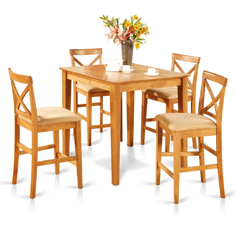 Shop Oak Counter Height Table And 4 Counter Chairs 5 Piece Dining