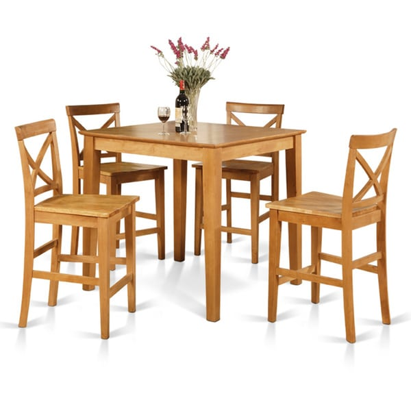 Oak Counter Height Table And 4 Counter Chairs 5 Piece Dining Set   Free  Shipping Today   Overstock.com   17325185
