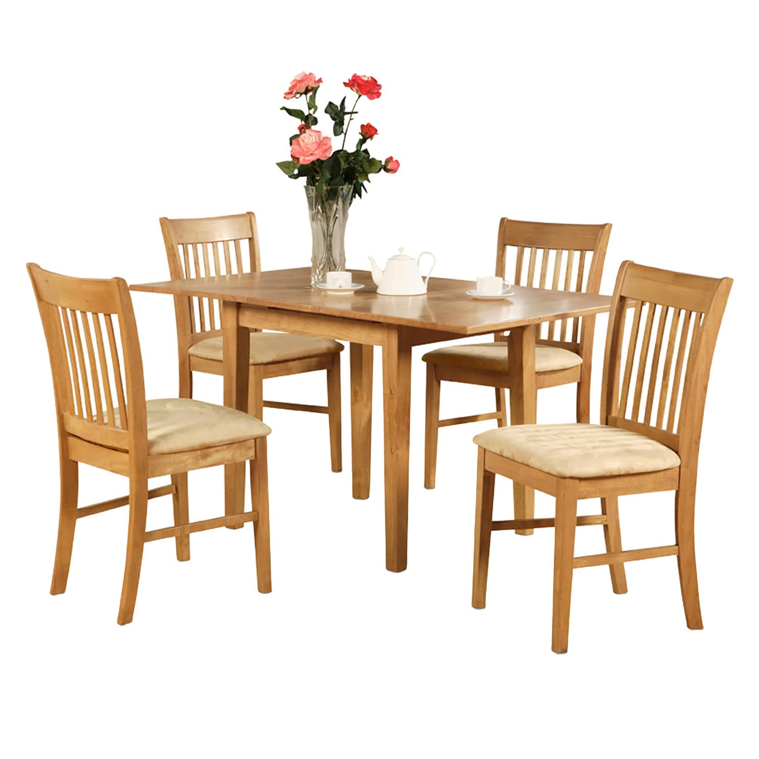 Oak Dinette Table With 12 Inch Leaf And 6 Kitchen Chairs 7 Piece Dining Set