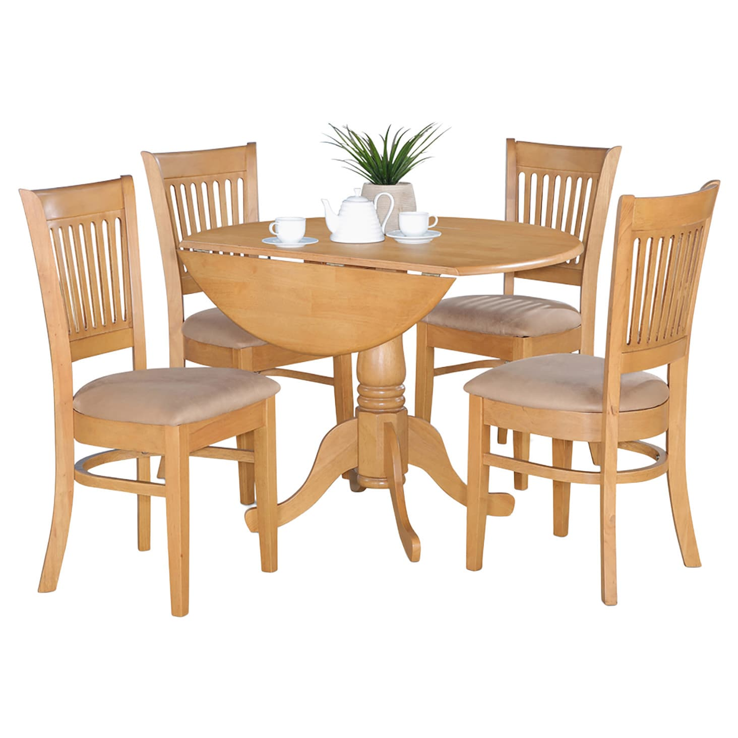 Oak Drop Leaf Table and 4 Dinette Chairs 5-piece Dining S...