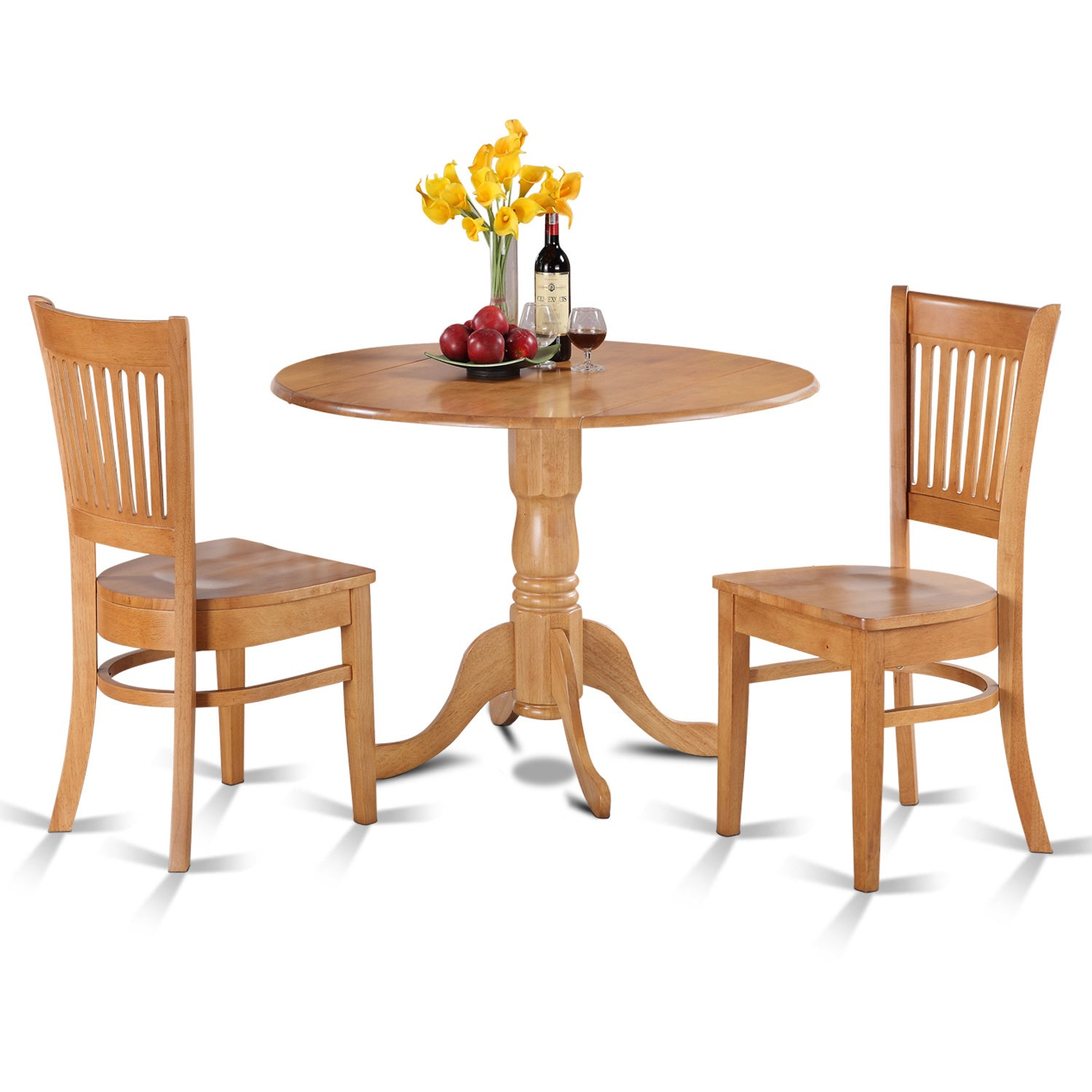 Oak Kitchen Table and 2 Slat Back Chairs 3-piece Dining S...