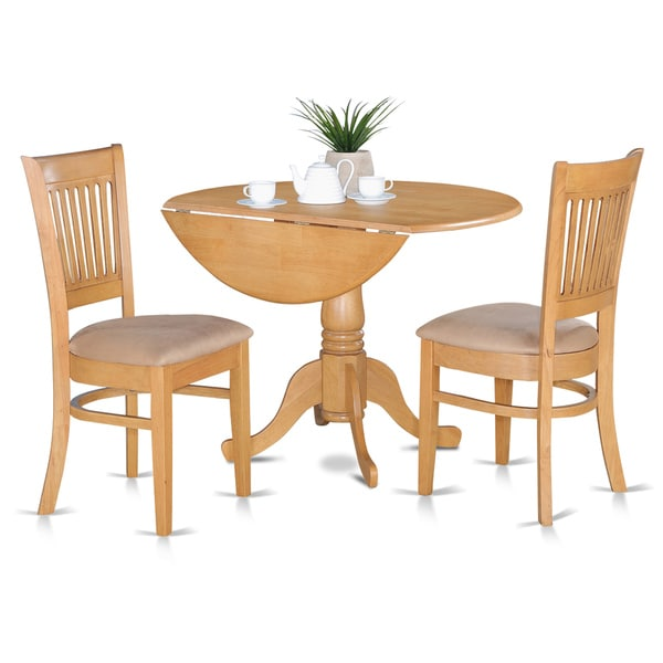 Oak kitchen table and slat back chairs piece dining