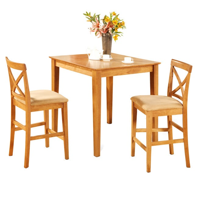 Oak Pub Table And 2 Kitchen Counter Chairs 3 Piece Dining Set