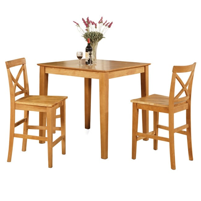 Dining Table Set For 2 Chairs 3 Piece Kitchen Room: Oak Pub Table And 2 Kitchen Counter Chairs 3-piece Dining