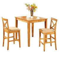 Oak Pub Table and 2 Kitchen Counter Chairs 3-piece Dining Set