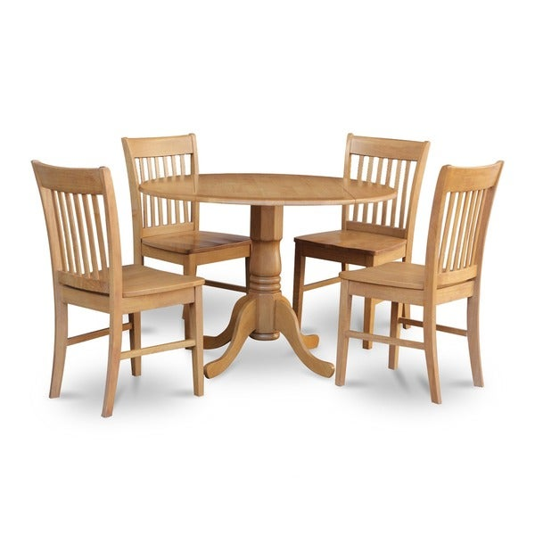 Oak Kitchen Tables And Chairs Sets: Oak Round Kitchen Table And 4 Chairs 5-piece Dining Set
