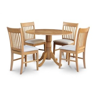 Oak Round Kitchen Table and 4 Chairs 5-piece Dining Set