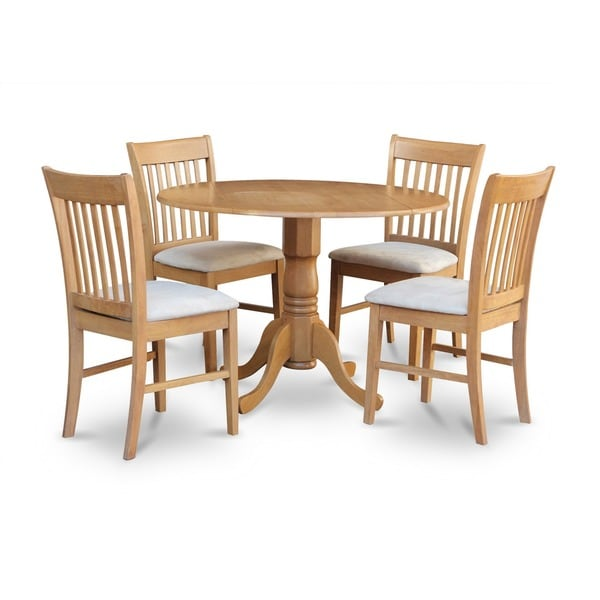 shop oak round kitchen table and 4 chairs 5 piece dining set free shipping today overstock. Black Bedroom Furniture Sets. Home Design Ideas