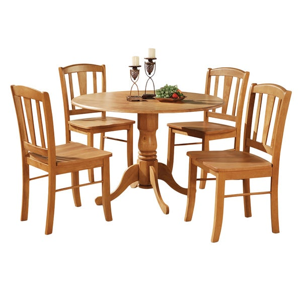 Oak Round Table and 4 Dinette Chairs Chairs 5 piece Dining