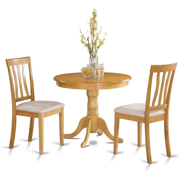 Oak small kitchen table plus 2 chairs 3 piece dining set for Compact kitchen table set