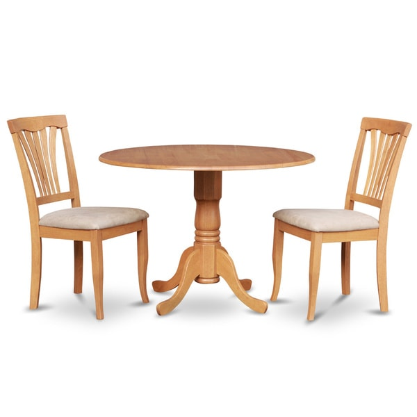 Oak small kitchen table plus 2 dinette chairs 3 piece for Compact kitchen table set